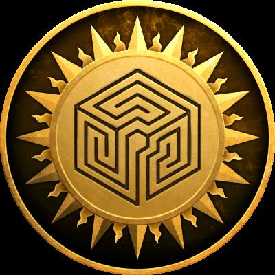 Logo LNS-JDR : un soleil contient un cube où un labyrinthe est dessiné